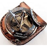 Latón antiguo reloj de sol brújula ~ Vintage botón de presión de reloj de sol de
