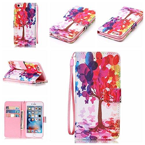 """Cuir Portefeuille Coque pour Apple iphone 6 Plus 6S Plus 5.5"""" Rose, Élégant iPhone 6S Plus étui Rabat Style, iPhone 6 Plus Case, Joli Image Peinture Arbre coloré Rose-1"""