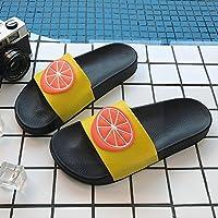 fankou Zapatillas de Frutas Chicas de Verano Suaves, Antideslizantes Baños Interiores Son Preciosas Parejas Baño Encantador hogar Dulce Arrastrar y, 43-44, Negro Naranja