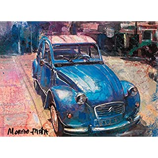 Klassischen Auto Citroën 2CV Blau Original Handmade Malerei