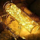LED-Lichterketten 100 Leds T-Antrix dekorative batteriebetriebene Lichterketten, Kupferdraht Licht Warmweiß für Schlafzimmer, Hochzeit