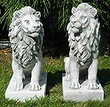 Beton Figur Löwe rechts und Links blickend 2-er Satz H 35 cm Dekofiguren und Gartenskulpturen