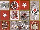 Mantel de hule, Navidad, rectangular 140 x 200cm Rojo Gris