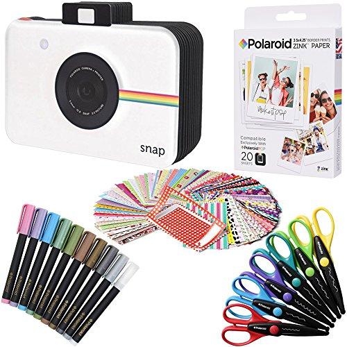 Polaroid 3.5 x 4.25'' Premium ZINK Fotopapier (20 Blatt) + Scrapbook + 100 Klebefotoränder + 10 Marker + 6 bunte Kantenscheren (kompatibel mit Polaroid POP)