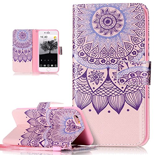 iPhone 6S Plus Hülle,iPhone 6 Plus Hülle,Leder Hülle für iPhone 6S Plus / 6 Plus,ikasus® Bunte Gemälde Gemalt Muster PU Lederhülle Flip Hülle im Bookstyle Cover Schale Slim Fit Soft Silikon Magnetvers Rosa Mandala Spitze Blumen