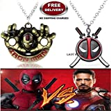 (2 Pcs AVENGER SET) - IRONMAN HANDS (GOLD) & DEADPOOL SWORD SHIELD (BLACK) IMPORTED PENDANTS WITH CHAIN. LADY HAWK DESIGNER SERIES 2018. ❤ ALSO CHECK FOR LATEST ARRIVALS - NOW ON SALE IN AMAZON - RINGS - KEYCHAINS - NECKLACE - BRACELET & T