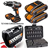 WORX 20V 4.0AH CORDLESS LITHIUM COMBI HAMMER DRILL COMPLETE KIT INCLUDES 2x POWERFULL 4.0AH LITHIUM BATTERIES , CHARGER, 100 PIECE SECURITY SET