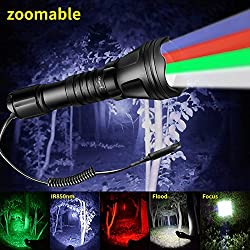 Odepro kl52 linterna de caza con zoom, led de luz roja, luz verde, luz blanca, ir850, y pulsador de cable remoto.