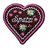 Lebkuchenherz Spatzl Edelweiss Herz Patch Aufnäher Bügelbild Applikation (pink)