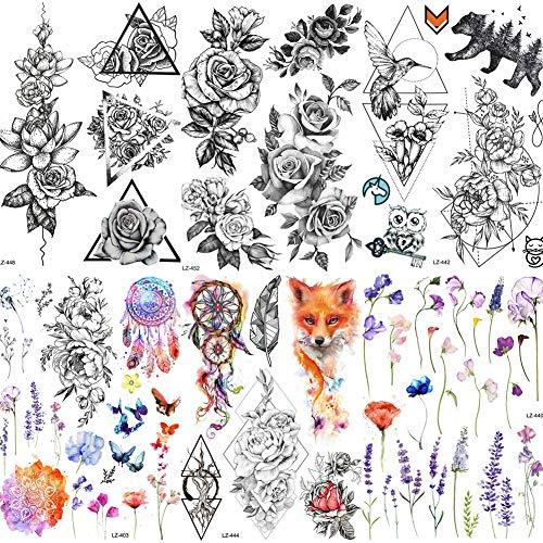 COKTAK 6 BläTter GroßE 3d Blume Rose TemporäRe Tattoos Aufkleber FüR Frauen MäDchen Muster Sexy Body Art GroßEn Arm Tattoo Papier Lavendel Schwarz Geometrische Erwachsene TäTowierung SüßE Erbse Flora -