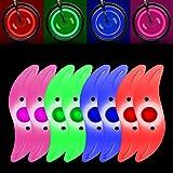 MGRETT Luci LED per raggi della bicicletta, 4 colori, 3 modalità, luce per raggi della bicicletta, impermeabile, alta visibil