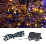 Lunartec Lichteketten: LED-Lichterkette mit 50 LEDs, Timer, Batterie, warmweiß, 5 m, IP44 (Lichterkette, batteriebetrieben)