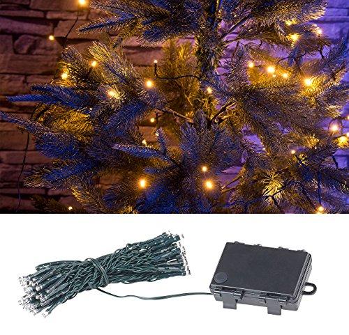 Lunartec Lichteketten: LED-Lichterkette mit 50 LEDs, Timer, Batterie, warmweiß, 5 m, IP44 (Lichterkette mit warmweißen Licht)