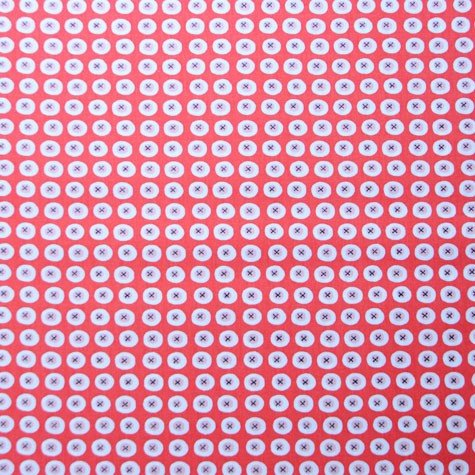 ORGANIC RED BUTTONS Fabric by Monaluna - 0.5 Metre -