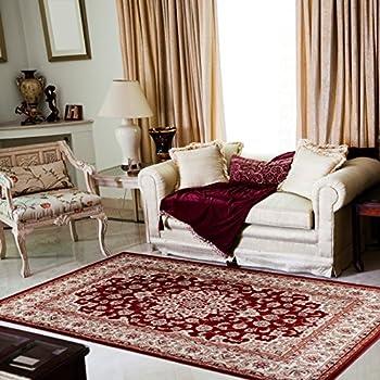 TAPISO® COLORADO Teppich Klassisch Kurzflor | Orientalisch Teppiche In Rot  Beige Creme Mit Floral Medaillon