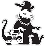 Banksy Rat Getto Design | Muurkunst graffiti vinyl Sticker | Urban Art Raam, auto, Laptop Decal (Medium - 10x10cm)