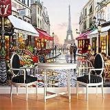 Street Style europäisches Ölgemälde 3D Fototapete Wallpaper Cafe Restaurant