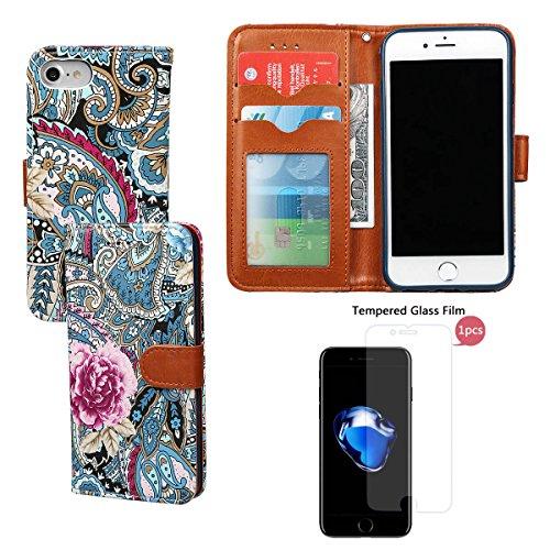 """xhorizon FM8 Weinlese Retro Blumenmuster Leder Brieftasche Fall Wallet Case Mit Perfektion Prime Design für iPhone 7 [4.7""""] blau+Stahlfolie"""