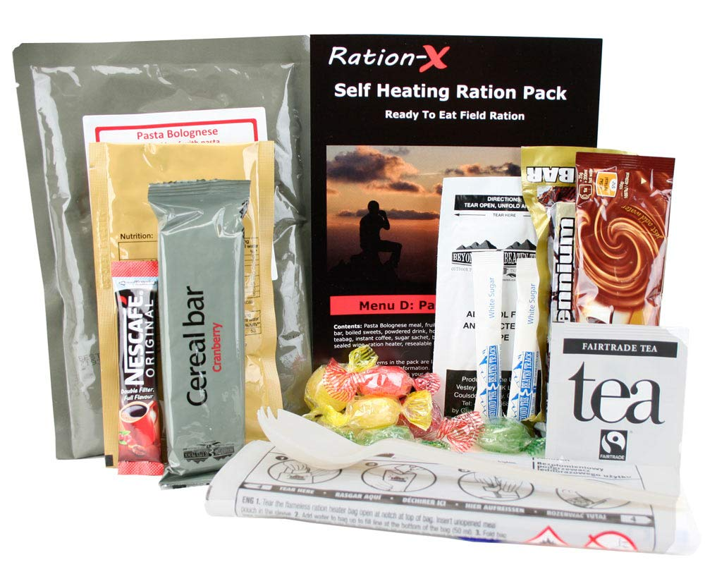 Self Heating Field Ration Pack Ready to Eat Meal Menu D 1