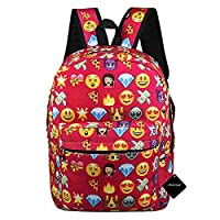 xhorizon TM FL1 Girl's Travel Backpack Shoulder School Book Bag Rucksack Handbag Satchel with QQ Emoji