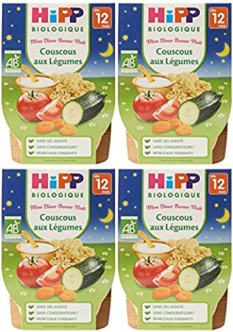 Hipp Biologique Mon Dîner Bonne Nuit Couscous aux Légumes dès 12 mois - 8 bols de 220 g