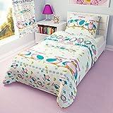 Parure de lit pour enfant - Housse de Couette et Taie d'oreiller pour berceau/lit d'enfant/tout-petit–Pink owls, Coton, rose, 90x120 cm