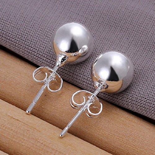 Pendientes JoyliveCY para mujer, cortos, de plata de ley de 925 milésimas, de 8mm, de estilo elegante y de tacto suave
