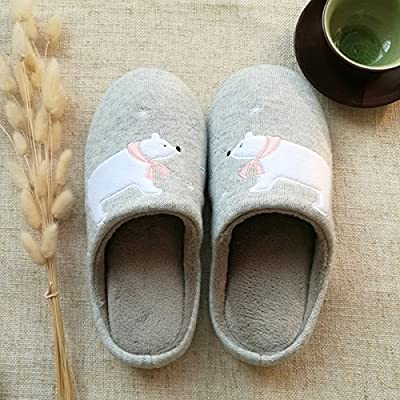 CWAIXXZZ plush slippers Winter cotton slippers couples home stay warm indoor lovely polar bears and floor anti-slip soft, male and female from CWAIXXZZ
