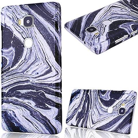 Coque Honor 5X Marbre GrandEver Housse Hard Rigide Back Cover pour Huawei Honor 5X Marble Noir Blanche Motif Etui de Protection Plastique Case Cas Couverture Dure Solide Tough Coquille Marbre Design Couverture Arrière Cover pour Huawei Honor 5X