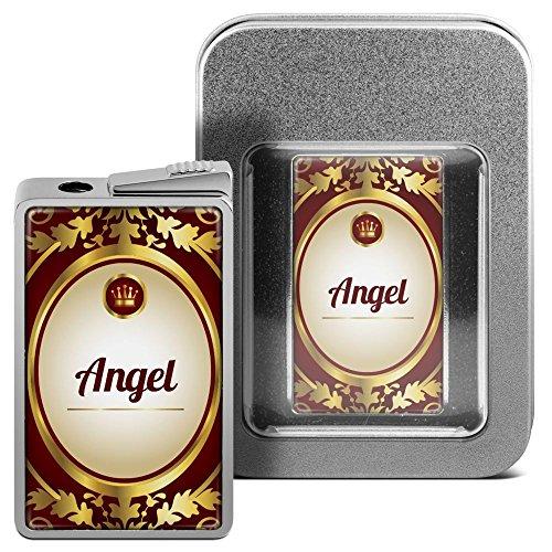 Feuerzeug mit Namen Angel - personalisiertes Gasfeuerzeug mit Design Ornamente - inkl. Metall-Geschenk-Box