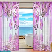 Sheer Voile Fenster Vorhang Schönes Orchidee Floral Schmetterling Muster  Bedruckt Polyester Stoff Für Schlafzimmer Decor Home