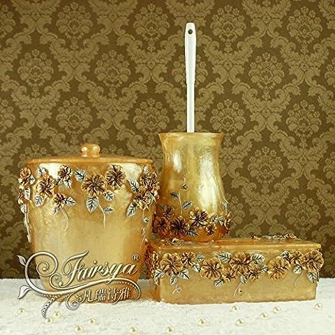 BBSLT Kit de lavado baño moderno europeo romántico resina Manor amarillo tres-set
