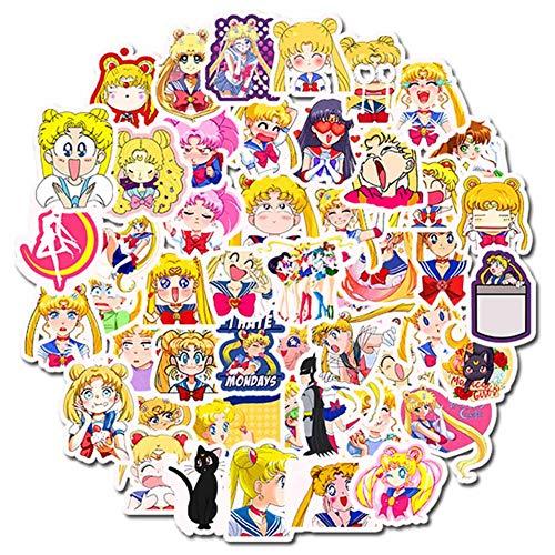 ALTcompluser Sailor Moon Stickers Wasserdicht Aufkleber Vinyl Aufkleber für Laptop, Macbook, Gepäck, Skateboard (50 stk - 2)