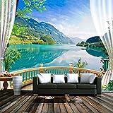 Kuamai Benutzerdefinierte 3D Fototapete Balkon Fenster Blauer Himmel Weiße Wolken Lake Forest Scenery Wohnzimmer Sofa Tv Hintergrund Wandbild Wandbild-120X100cm