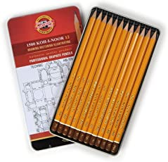 Koh-I-Noor Yellow Professional Graphite Pencil TECHNIC Set of 12 - HB-10H