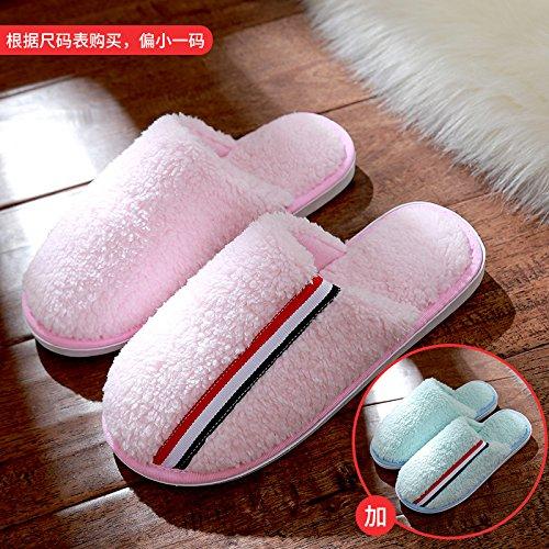 DogHaccd pantofole,Pantofole di cotone femmina inverno spessa coperta coppie maschio soggiorno anti-slittamento peluche caldo pantofole Rosa1