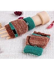 Longless Guantes de la mitad-dedo clamshell hembra caliente guantes de lana de doble cara de uso expuesto hembra guantes de fuga lindo invierno