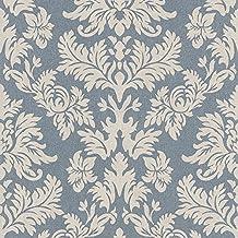 rasch barbara becker damask muster tapete barock texturiert stoff effekt blau 474350 - Muster Tapeten