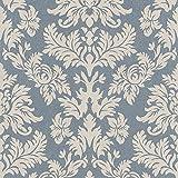 Rasch Barbara Becker Damask Muster Tapete Barock Texturiert Stoff Effekt - Blau 474350