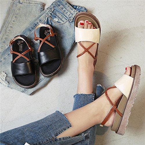 XY&GKDamen Sommer Sandalen Schuhe Retro Muffin mit Schule 37 meters white