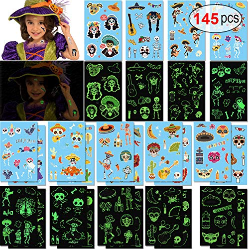 Konsait 145pcs Leuchten im Dunkeln Halloween Mexikaner Schädel Temporäre Tattoos Kinder tattoos Aufkleber für Mädchen Junge Kindergeburtstag Mitgebsel Halloween Geschenke