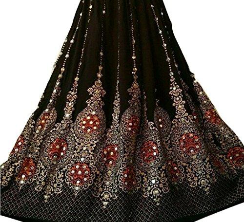 Dancers World Ltd - Falda larga de lentejuelas de bonito diseño, estilo hippie bohemio, para danza del vientre, Black Gold with Orange inset