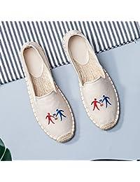 XINGMU Zapatos De Paja Bordados Zapatos Zapatos De Pescadores Zapatos Planos Solo Zapatos 39 Beige