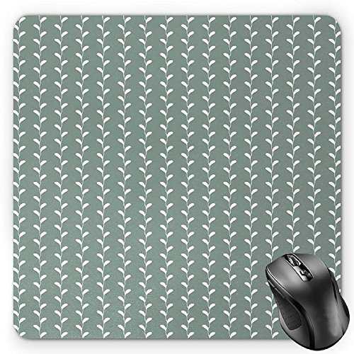 Preisvergleich Produktbild HYYCLS Abstract Mauspads,  Vintage Classic Wavy Branches with Leaves Vertical Lined Nature Themed,  Standard Size Rectangle Non-Slip Rubber Mousepad,  Pale Sage Green White