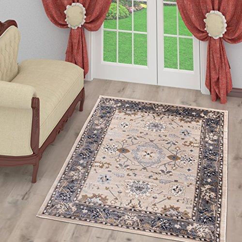 Tapiso tappeto salotto classico – colore beige chiaro foglia disegno persiano di inspirazione orientale – morbido – facile da pulire – prezzo economico 60 x 100 cm