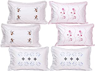 "HSR Collection Pure Cotton 300TC Standard Size Pillow Cover - 18""x28""- Flower Leaf Pattern"