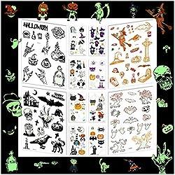 Halloween Luminoso Tatuajes Temporales para Niños, mexicano niños tattoos Día de los Muertos Esqueleto cráneo Tatuajes Pegatinas para Infantiles Fiesta de cumpleaños Regalo