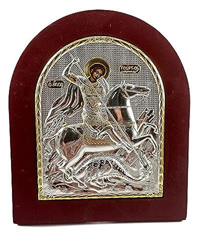 Saint George icône argent plaqué 925 Sainte St.George Ikona encadré Jérusalem 5.1.»