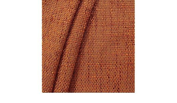 METERWARE Polsterstoff Möbelstoff Bouclé Optik Terrakotta Orange 145cm breit