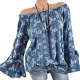 Aelegant Damen Sommer Schulterfrei Chiffonbluse Weite Ärmel T-Shirt Gedruckt Langarm Oberteil Tops Off Shoulder Chiffon Bluse Shirt